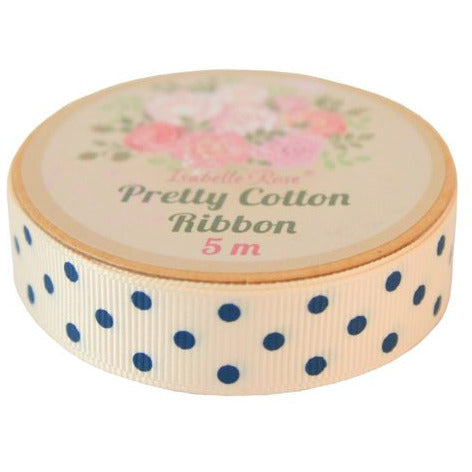 Cream Ribbon with navy blue dots.