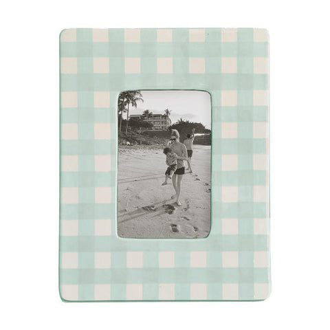 Gingham Photo Frame Sea Glass.