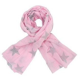 cotton scarf pink with grey stars