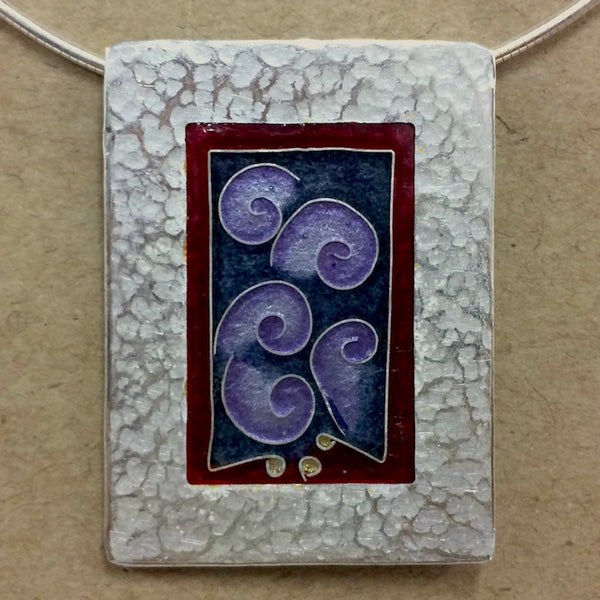 Enamelled Pendant - Purple Shells