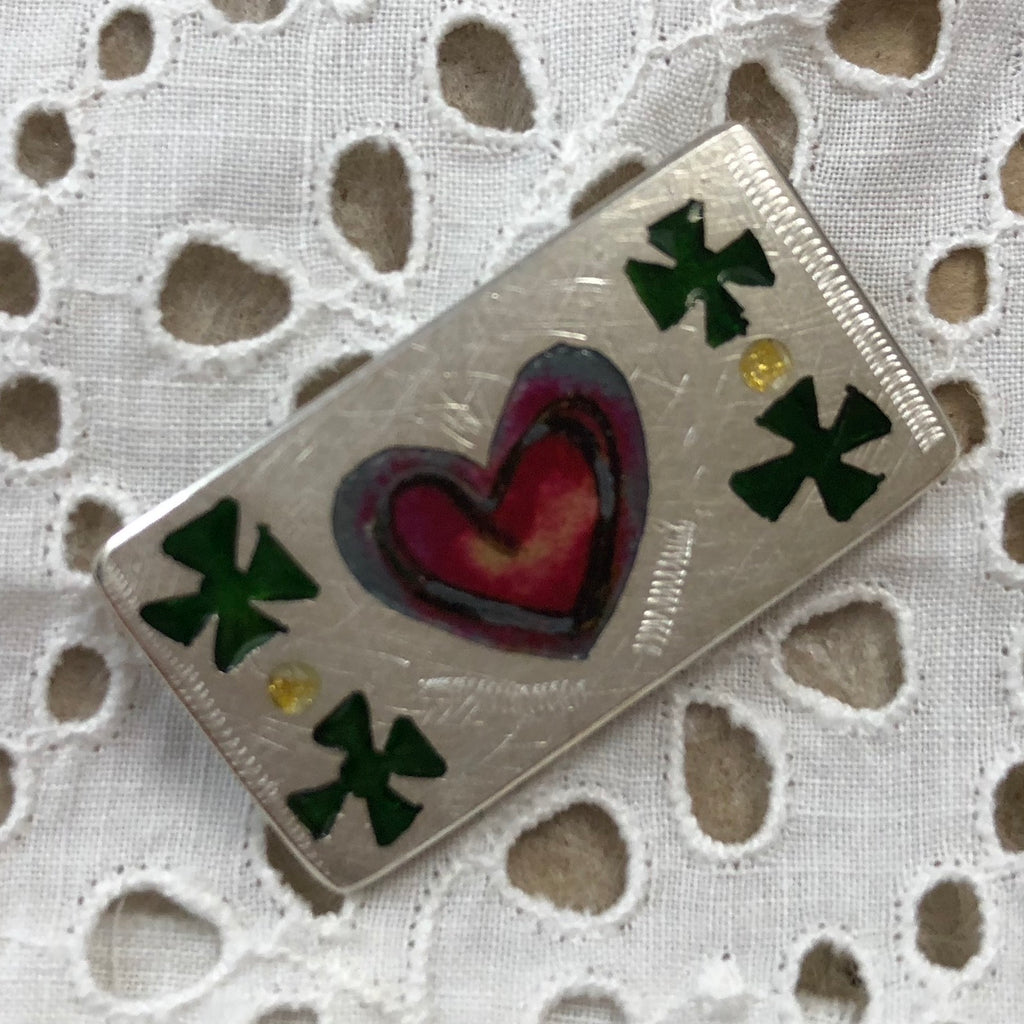 Brooch, heart and crosses