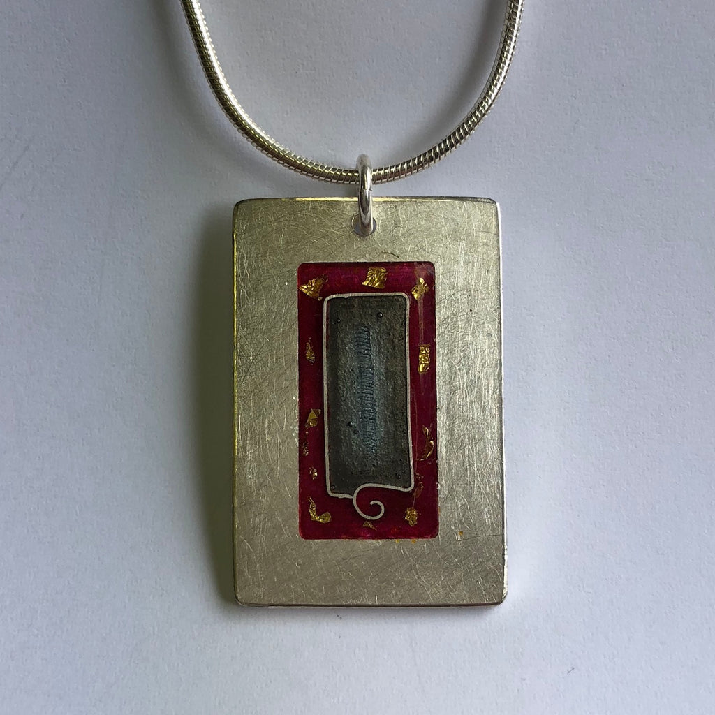 Pendant, red and grey with gold