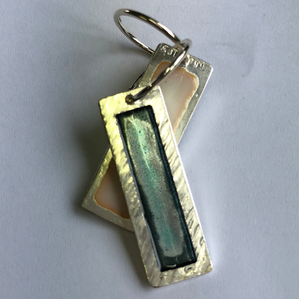 Earrings, 10 X 30mm long fine silver, enamel