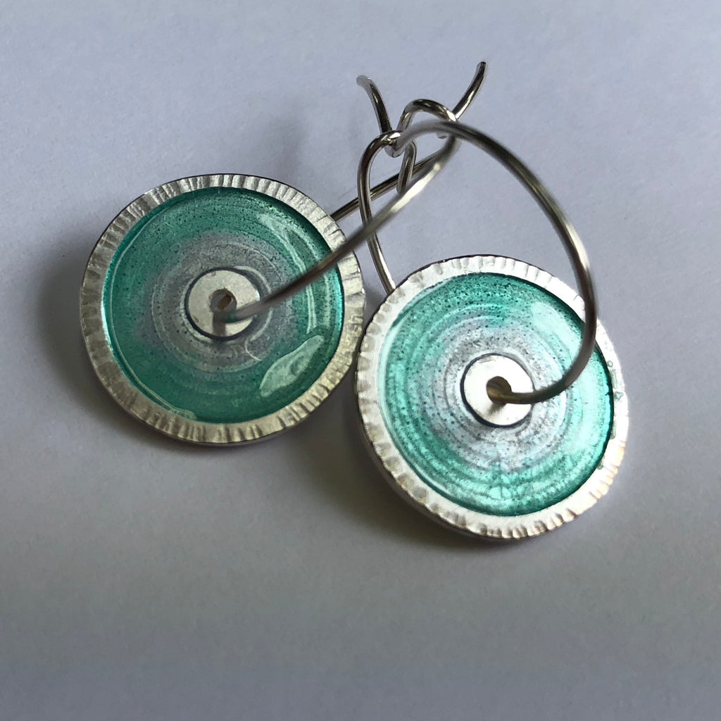 Ear rings, enamel on silver 16mm