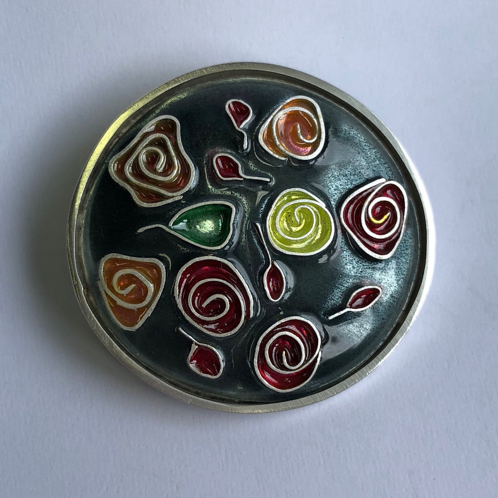 Brooch, Roses on turquoise grey