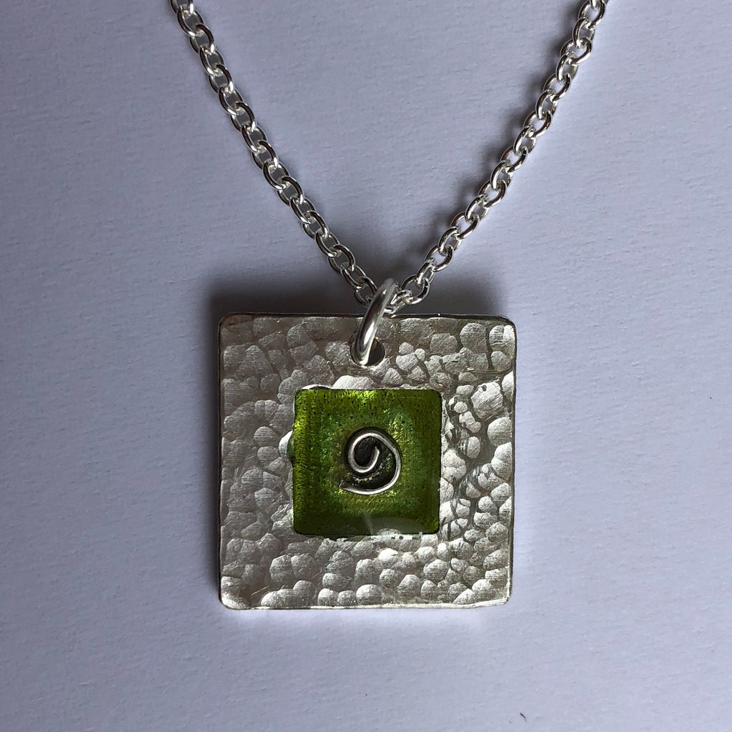 pendant, hammered, green koru