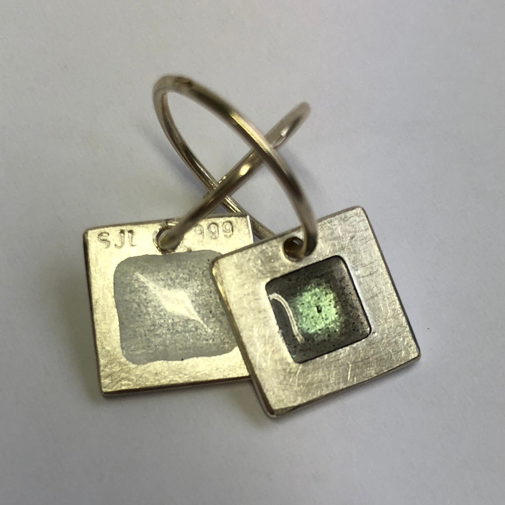 Ear rings, 12mm square enamel on silver