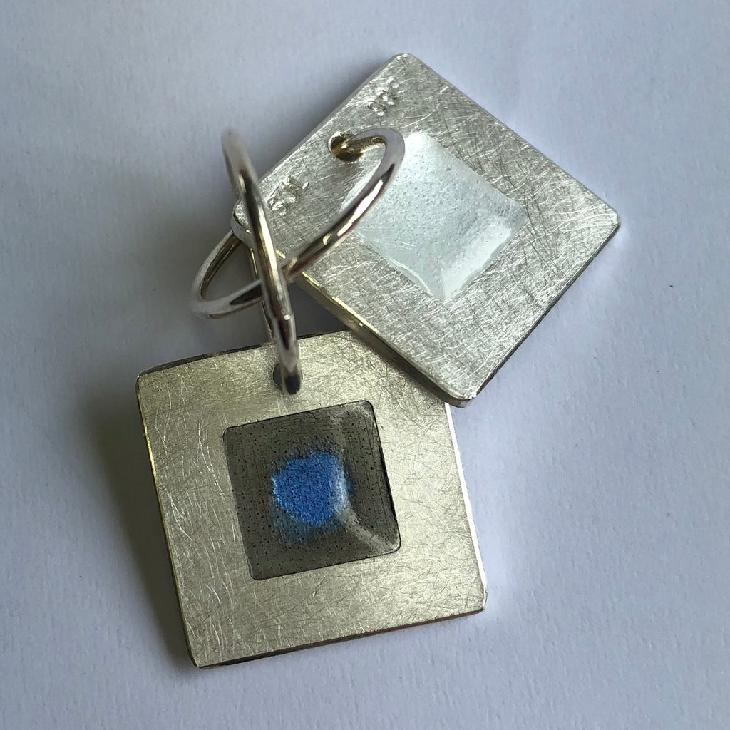Ear rings, 16mm square enamel on silver