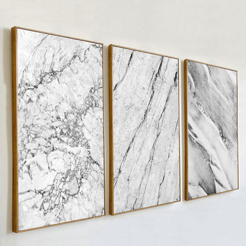 Abstract Grey Marble Veins Canvas Painting