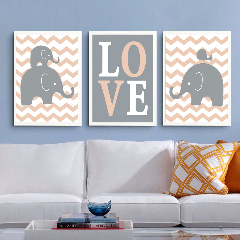 Cartoon Elephants Love Canvas Painting