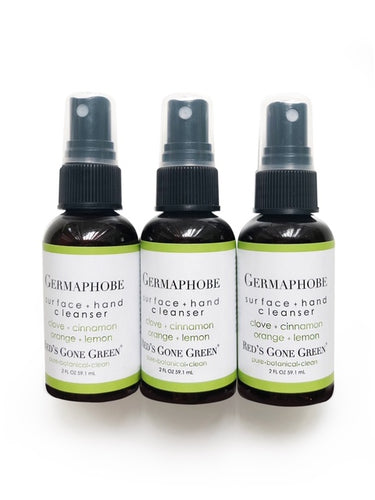 clove cinnamon orange lemon <br> Germaphobe <br> hand and surface cleanser, pack of 3