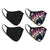 4-Pack Black & Tie Dye Double Layered Adult Masks