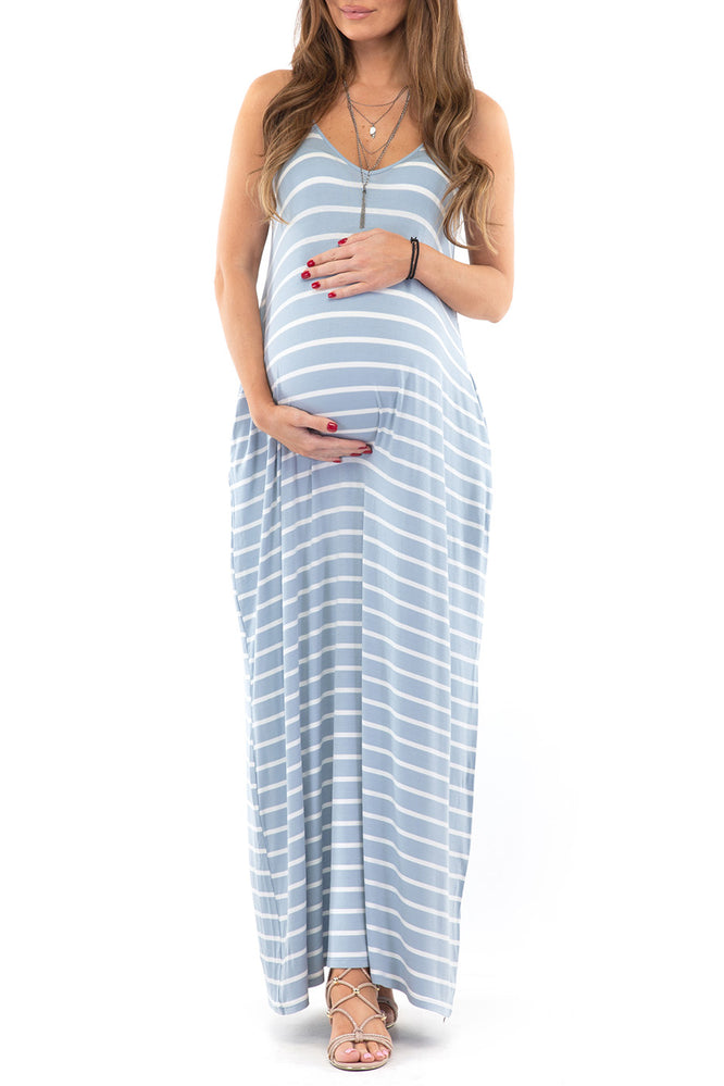 Mother Bee Maternity Women's Sleeveless Maxi Dress with Adjustable Straps and Pockets