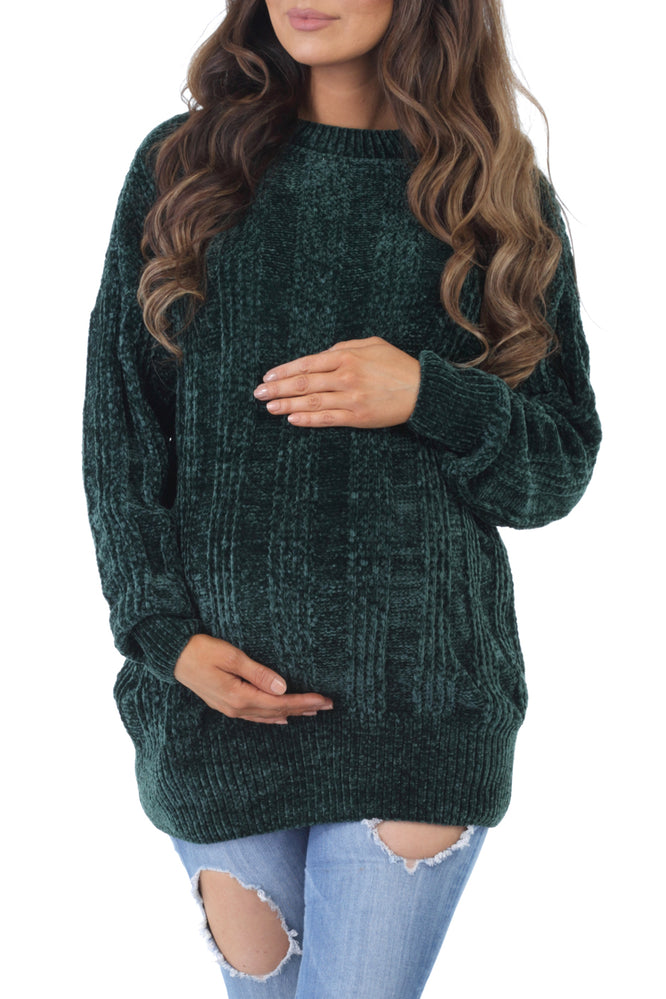 Women's Maternity Round Neck Cable Knit Chenille Sweater