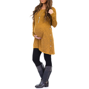 Long Sleeve side faux button Maternity Tunic