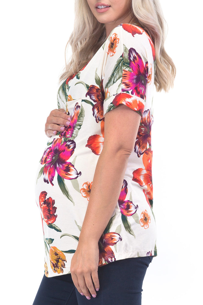 Women Maternity Tops Off Shoulder Floral Printed Pregnant Tunic Tops