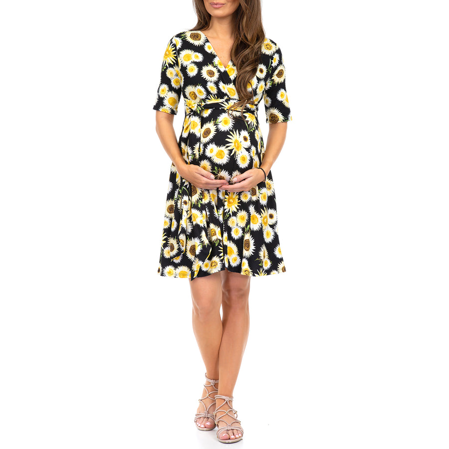 Floral Maternity Faux Wrap Midi Dress