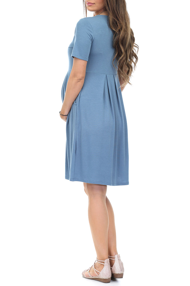 Women S Pleated Maternity Dress With Pockets Motherbeematernity