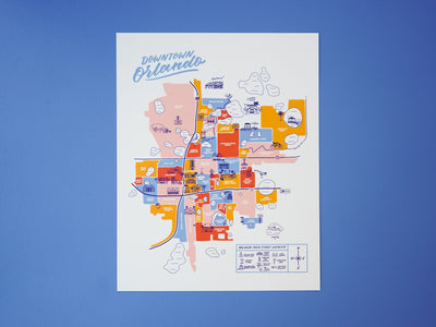 Orlando Downtown Map - 11x14""