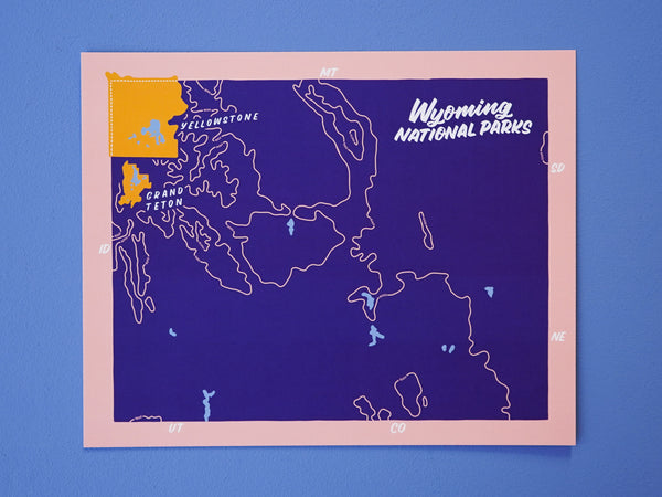 Wyoming National Parks Map - 8x10