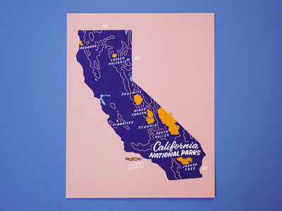 California National Parks Map - 8x10""