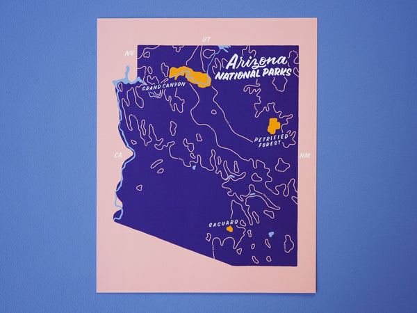 Arizona National Parks Map - 8x10