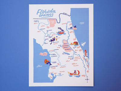 Florida Springs Map - 11x14""