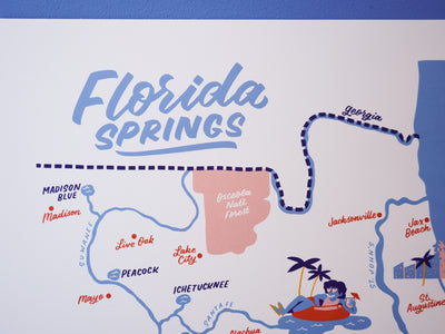 Wholesale — Florida Springs Map - 11x14""
