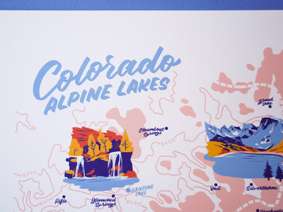 Colorado Alpine Lakes Map - 11x14""