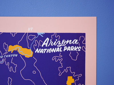 Arizona National Parks Map - 8x10""