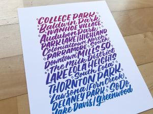 Orlando Neighborhoods Print