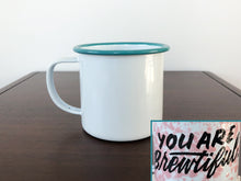 Hand lettered enamel camp mugs