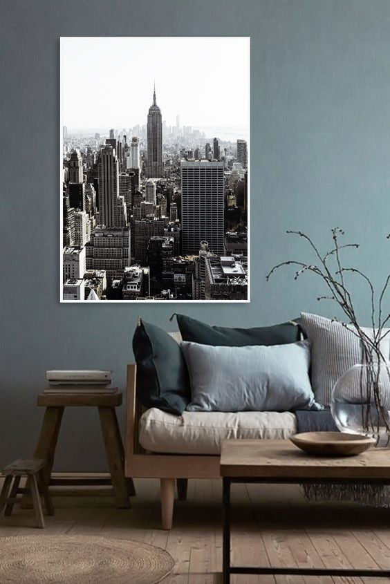 living room with New York print