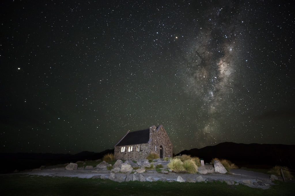 church of the good shepard under the milky way