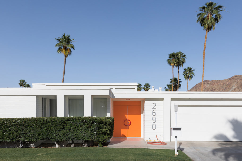 Palm Springs home with an orange door