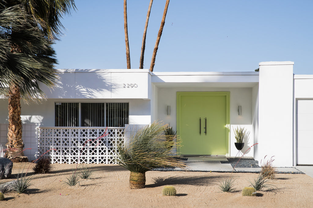 Palm Springs home with a green door