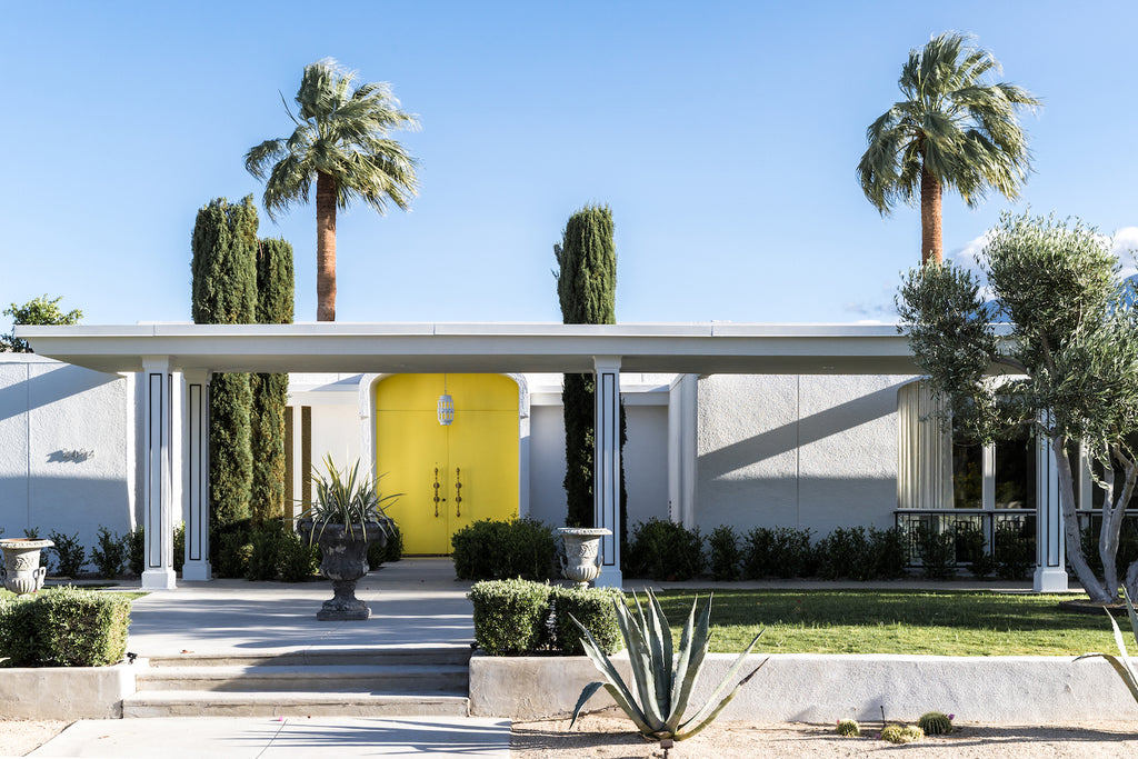Palm Springs home with a yellow door
