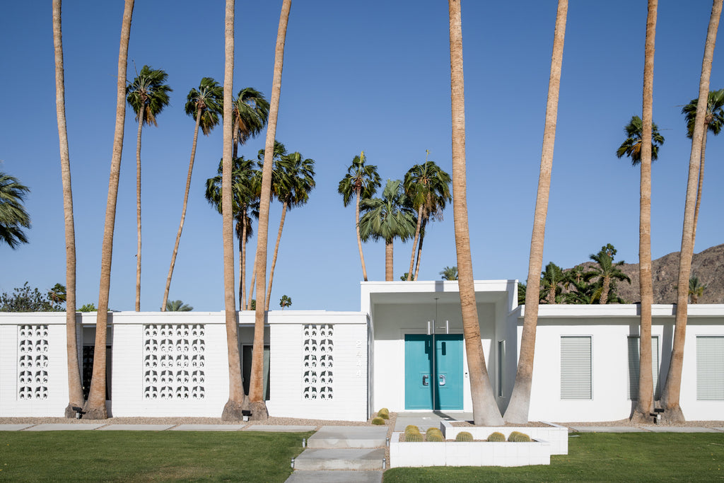 Palm Springs home with a blue door