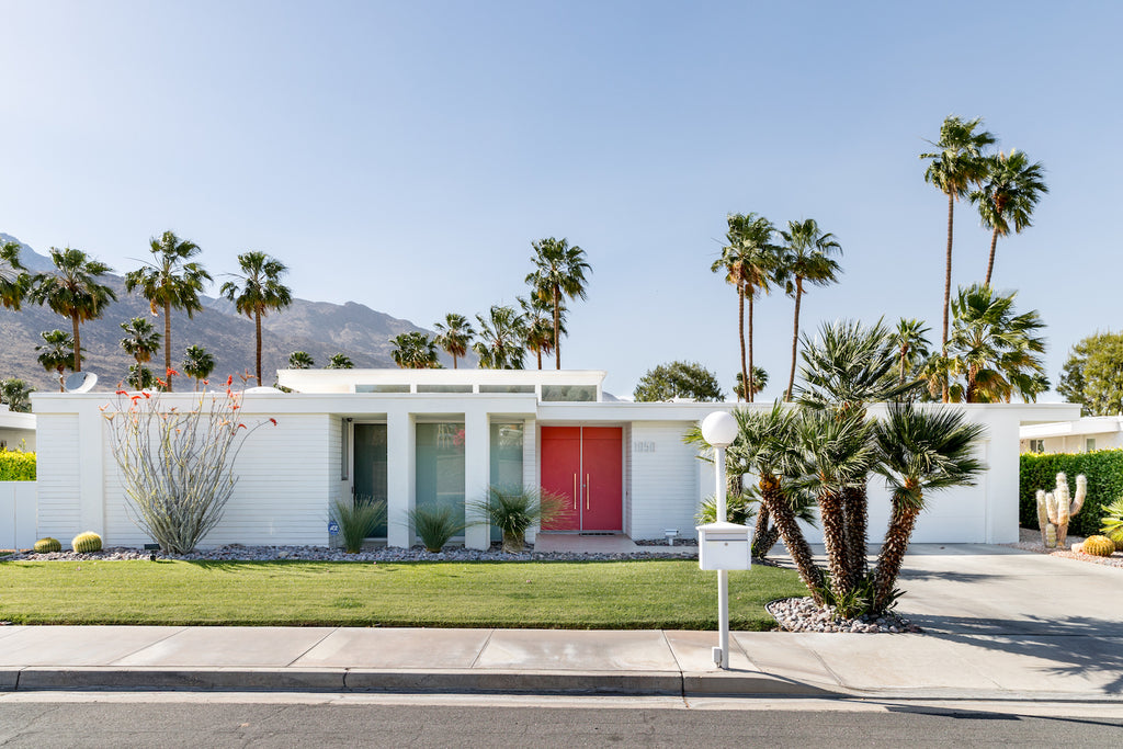 Palm Springs home with a red door