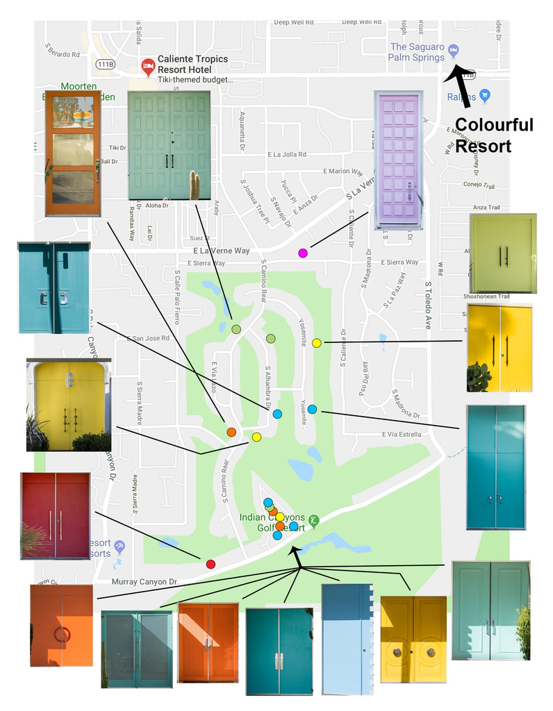 Palm Springs coloured door map