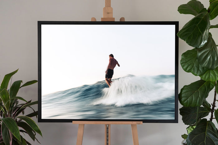 surf fine art photography in a black frame with no border