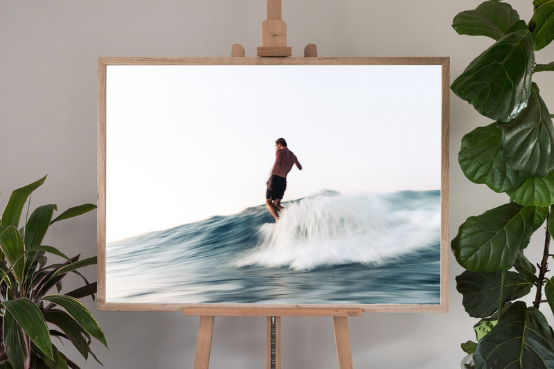 surf fine art photography in a oak frame with no border
