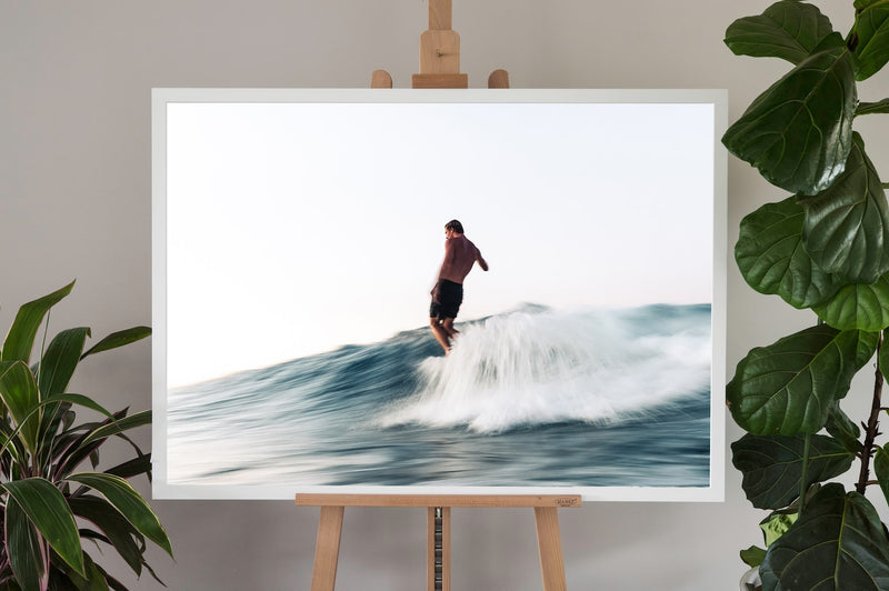 surf fine art photography in a white frame with no border