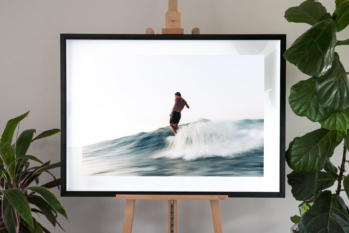 surf fine art photography in a black frame with a border