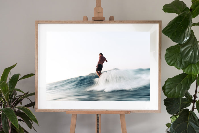 surf fine art photography in a oak frame with a border