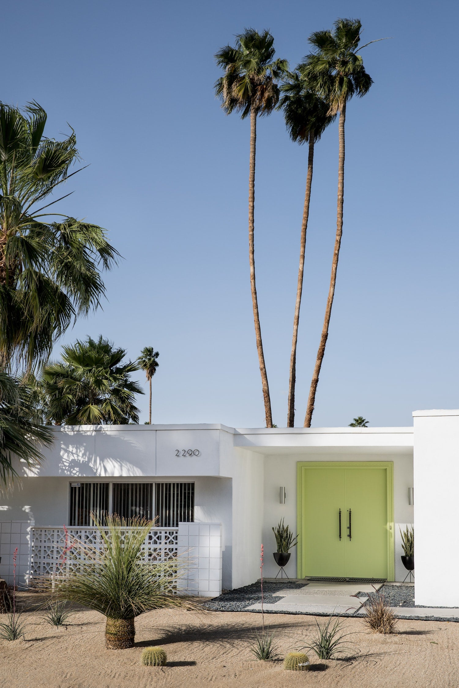 Palm Springs house with a lime coloured door