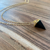 Black Onyx Pyramid Long Necklace