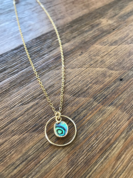 Abalone Shell Ring Necklace