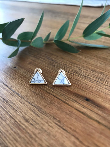 Triangle White Howlite Stud Earrings