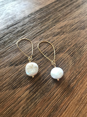 Gold Coin Pearl Loop Drop Earrings